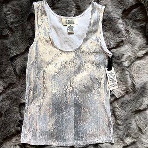 BB Dakota Silver Sequined Blouse